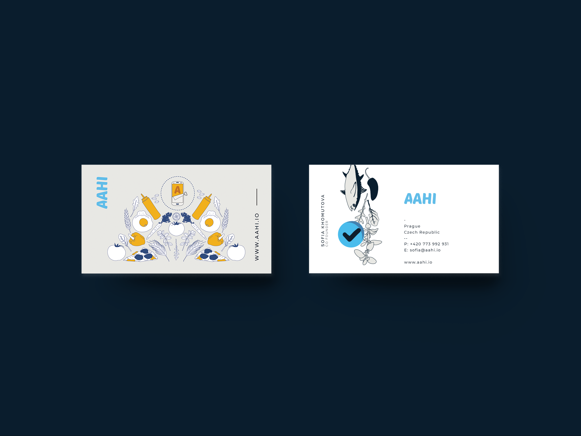 aahi app design, business cards, graphic design