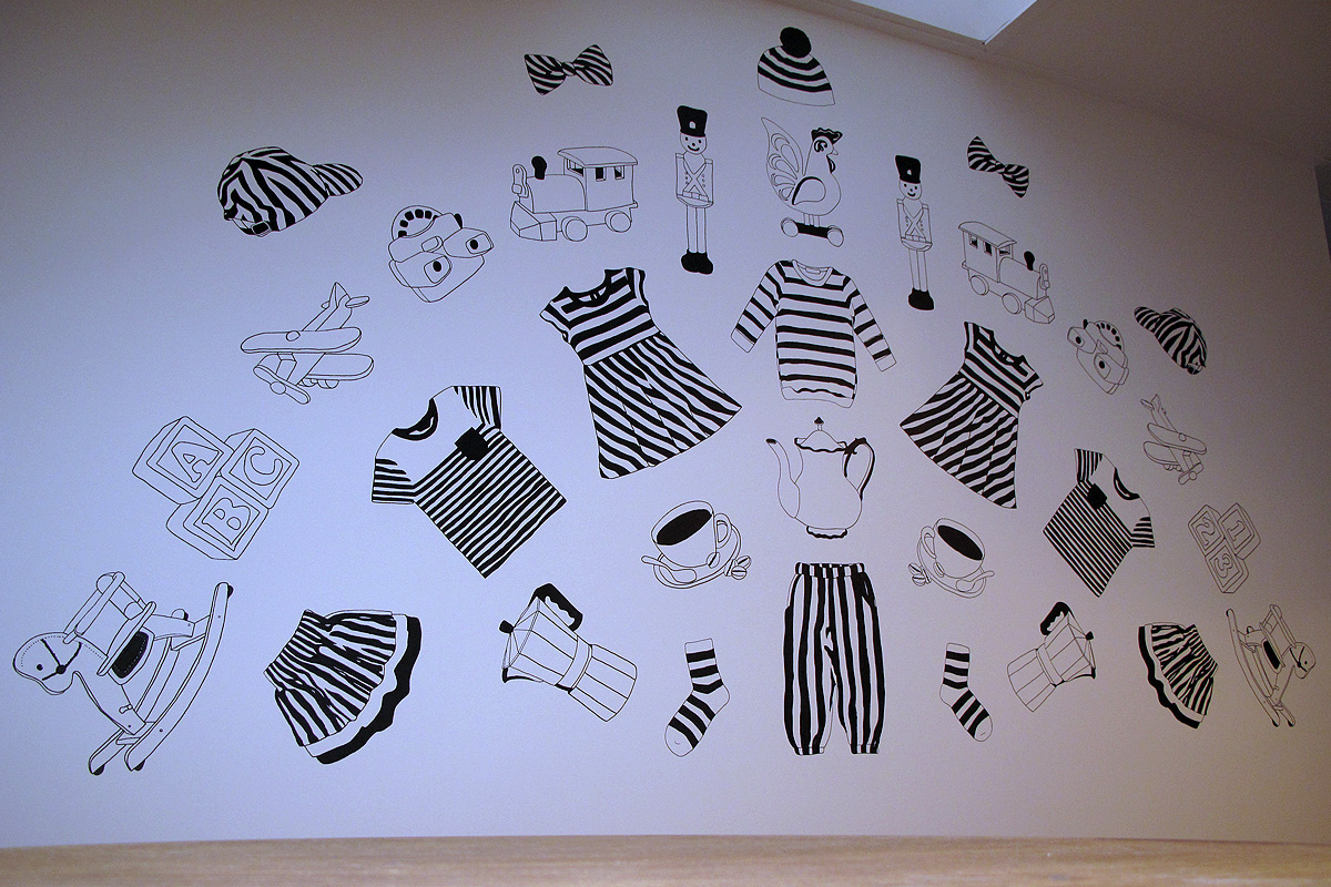kwinkel illustration stripes mural, wall art